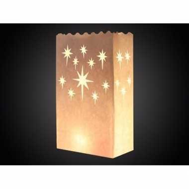 15x candle bags met sterren print 26 cm