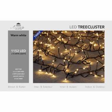 1x clusterverlichting met timer en dimmer 1152 leds warm wit 15 m