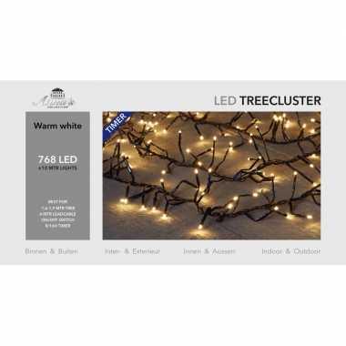 1x clusterverlichting met timer en dimmer 768 leds warm wit 10 m
