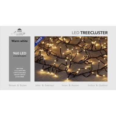 1x clusterverlichting met timer en dimmer 960 leds warm wit 12,5 m