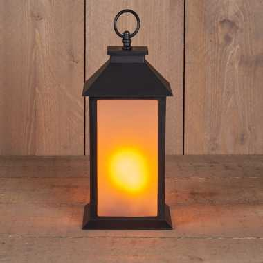 1x zwarte led lantaarns met vlameffect en timer 30 cm
