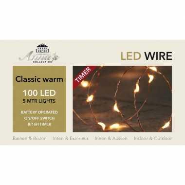 2x kerstverlichting lichtdraad met timer 100 lampjes klassiek