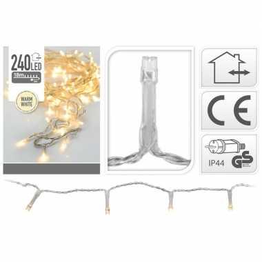 2x kerstverlichting transparant 240 warm witte lampjes buiten