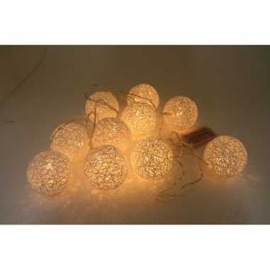 Feestverlichting cotton ball 10-delig 180 cm