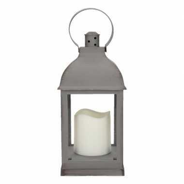 Halloween lantaarn led kaars grijs 24 cm type 2