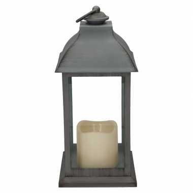 Halloween lantaarn led kaars grijs 30 cm