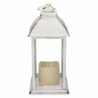 Halloween lantaarn led kaars wit 30 cm
