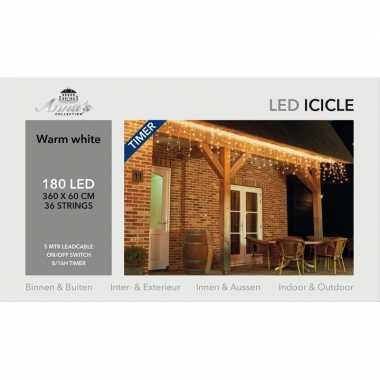 Kerst ijspegelverlichting met timer 180 lampjes warm wit 3,6 m