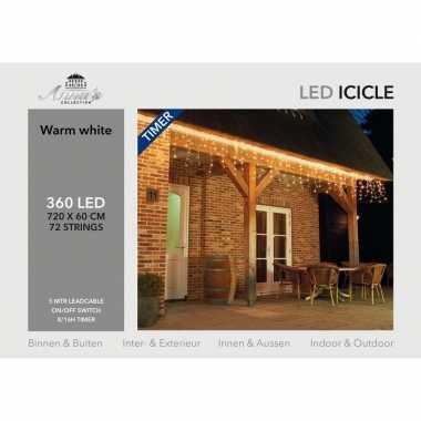 Kerst ijspegelverlichting met timer 360 lampjes warm wit 7,2 m