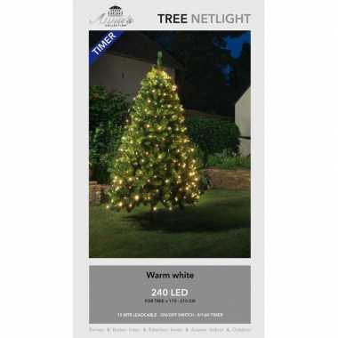 Kerstboom lichtnetten/netverlichting met timer 240 lampjes warm wit
