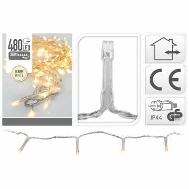 Kerstverlichting transparant 480 warm witte lampjes buiten
