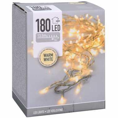 Kerstverlichting transparant snoer met 180 warm witte lampjes 13,5 meter buiten