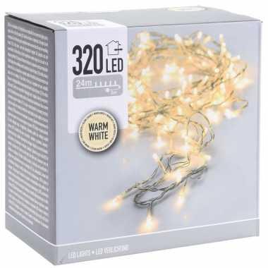 Kerstverlichting transparant snoer met 320 warm witte lampjes 24 meter buiten