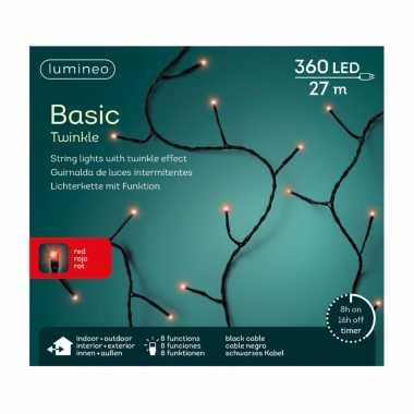 Kerstverlichting twinkle met timer rood buiten 360 lampjes