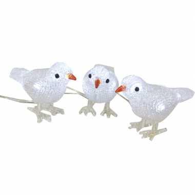 Led figuren vogeltjes set van 3 voor binnen/buiten 15 cm