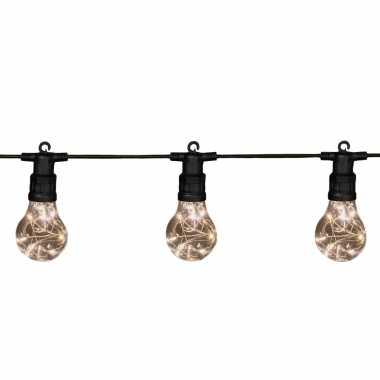 Tuinverlichting lichtsnoer met lampjes/bollampjes warm wit 10 meter