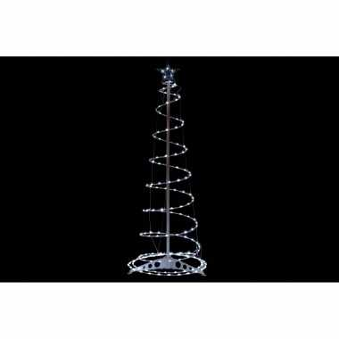 Verlichte figuren witte 3d lichtboom/metalen boom/kerstboom met 200 led lichtjes 110 cm