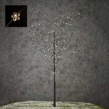 Verlichte figuren zwart lichtboom met 100 led verlichte bloemen 110 cm