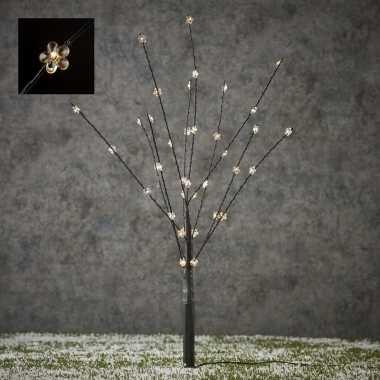 Verlichte figuren zwart lichtboompje met 40 led verlichte bloemen 55 cm