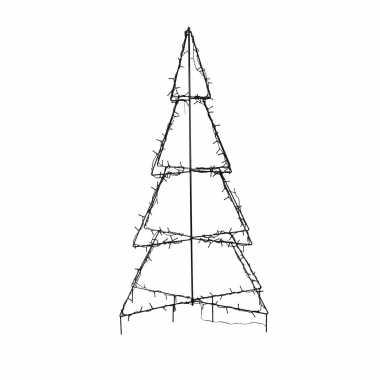 Verlichte figuren zwarte lichtboom/metalen boom/kerstboom met 160 led lichtjes 126 cm