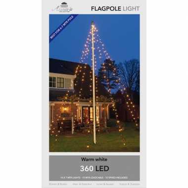 Vlaggenmast kerstverlichting 360 warm witte lampjes voor buiten